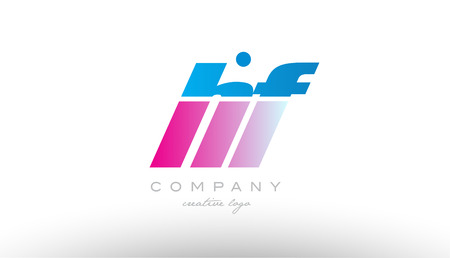 hf  h f alphabet letter combination in pink and blue color. Can be used as a logo for a company or business with initials Illustration