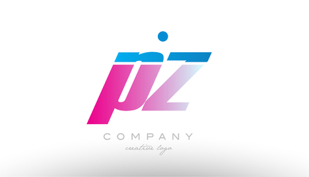 pz p z alphabet letter combination in pink and blue color. Can be used as a logo for a company or business with initials Illustration