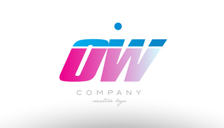 ow o w alphabet letter combination in pink and blue color. Can be used as a logo for a company or business with initials Ilustração