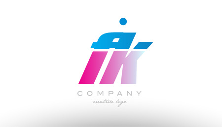 fk f k alphabet letter combination in pink and blue color. Can be used as a logo for a company or business with initials