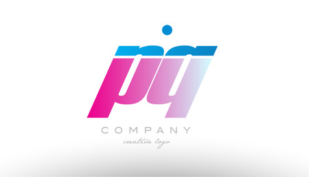 pq p q alphabet letter combination in pink and blue color. Can be used as a logo for a company or business with initials