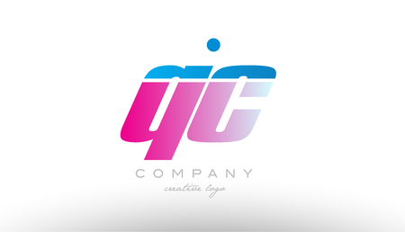 qc q c alphabet letter combination in pink and blue color. Can be used as a logo for a company or business with initials