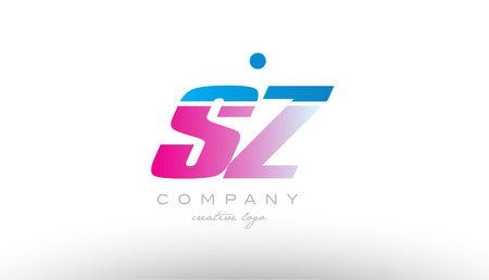 sz s z  alphabet letter combination in pink and blue color. Can be used as a logo for a company or business with initials
