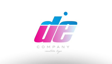 de d e alphabet letter combination in pink and blue color. Can be used as a logo for a company or business with initials