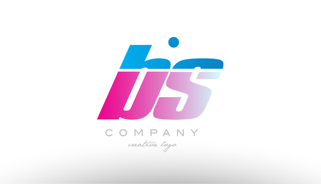 bs b s alphabet letter combination in pink and blue color. Can be used as a logo for a company or business with initials Illusztráció