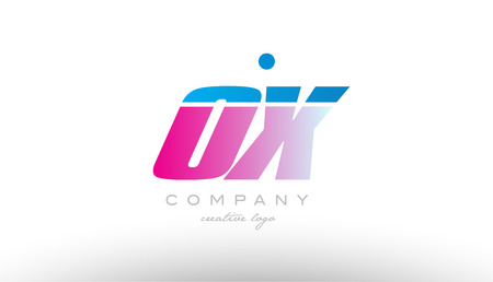 ox o x alphabet letter combination in pink and blue color. Can be used as a logo for a company or business with initials