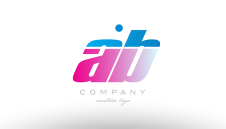 ab a b alphabet letter combination in pink and blue color. Can be used as a logo for a company or business with initials Illustration