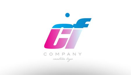 cf c f alphabet letter combination in pink and blue color. Can be used as a logo for a company or business with initials