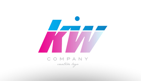 kw k w alphabet letter combination in pink and blue color. Can be used as a logo for a company or business with initials