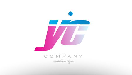 yc y c alphabet letter combination in pink and blue color. Can be used as a logo for a company or business with initials