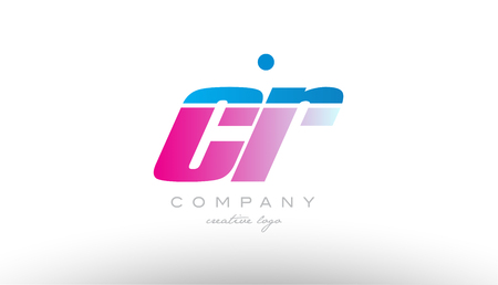 cr c r alphabet letter combination in pink and blue color. Can be used as a logo for a company or business with initials