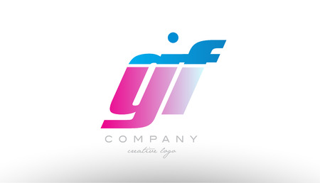 gf g f alphabet letter combination in pink and blue color. Can be used as a logo for a company or business with initials Illustration
