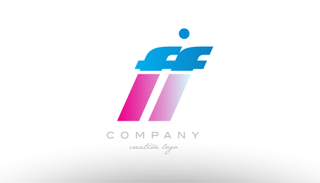 ff f f alphabet letter combination in pink and blue color. Can be used as a logo for a company or business with initials