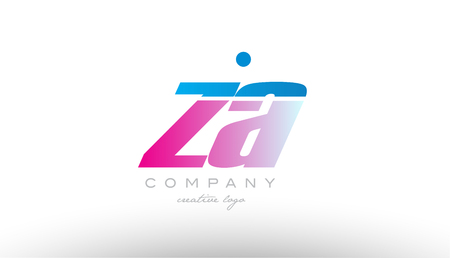 za  z a alphabet letter combination in pink and blue color. Can be used as a logo for a company or business with initials Illustration