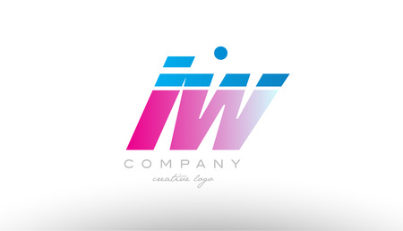 iw  i w alphabet letter combination in pink and blue color. Can be used as a logo for a company or business with initials
