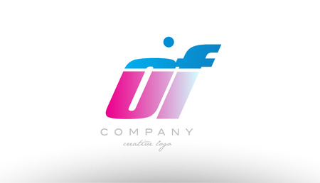 of o f alphabet letter combination in pink and blue color. Can be used as a logo for a company or business with initials