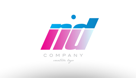 nd n d alphabet letter combination in pink and blue color. Can be used as a logo for a company or business with initials