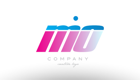 mo m o alphabet letter combination in pink and blue color. Can be used as a logo for a company or business with initials