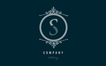 Design of alphabet letter s with blue pastel color and decorative circle monogram suitable as a logo for a company or business