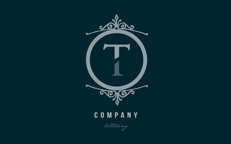 Design of alphabet letter t with blue pastel color and decorative circle monogram suitable as a logo for a company or business Illustration