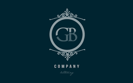 Design of alphabet letter logo combination gb g b with blue pastel color and decorative circle monogram suitable as a logo for a company or business