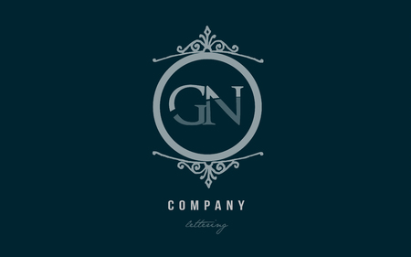 Design of alphabet letter logo combination gn g n with blue pastel color and decorative circle monogram suitable as a logo for a company or business