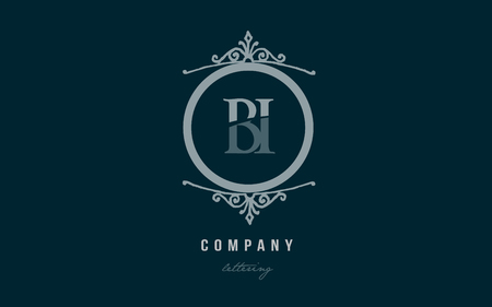 Design of alphabet letter logo combination bi b i with blue pastel color and decorative circle monogram suitable as a logo for a company or business
