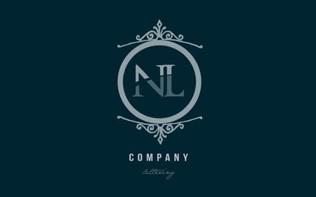 Design of alphabet letter logo combination nl n l with blue pastel color and decorative circle monogram suitable as a logo for a company or business Ilustração