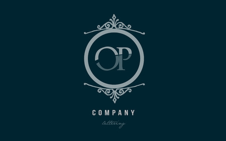 Design of alphabet letter logo combination op o p with blue pastel color and decorative circle monogram suitable as a logo for a company or business