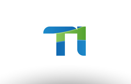 Design of alphabet letter logo combination ti t i with blue green color suitable as a logo for a company or business Logó