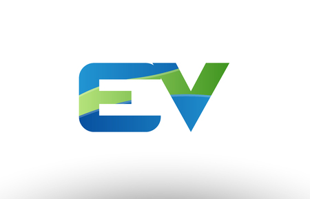 Design of alphabet letter logo combination ev e v with blue green color suitable as a logo for a company or business