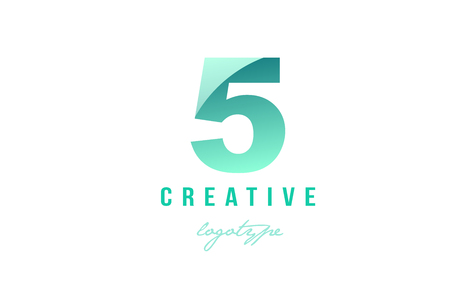 Design of number numeral digit 5 five with green pastel gradient color suitable as a logo for a company or business Illustration