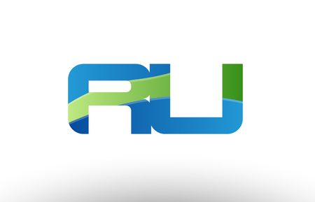 Design of alphabet letter logo combination ru r u with blue green color suitable as a logo for a company or business