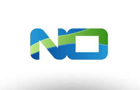 Design of alphabet letter logo combination no n o with blue green color suitable as a logo for a company or business