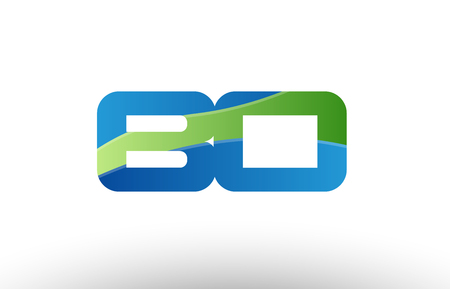 Design of alphabet letter logo combination bo b o with blue green color suitable as a logo for a company or business