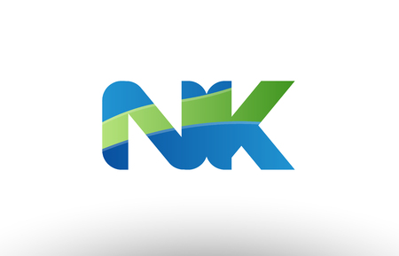 Design of alphabet letter logo combination nk n k with blue green color suitable as a logo for a company or business