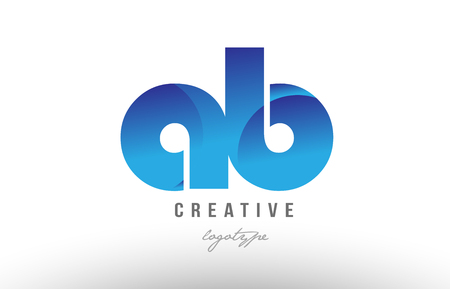 Design of alphabet letter logo combination ab a b with blue gradient color for a company or business