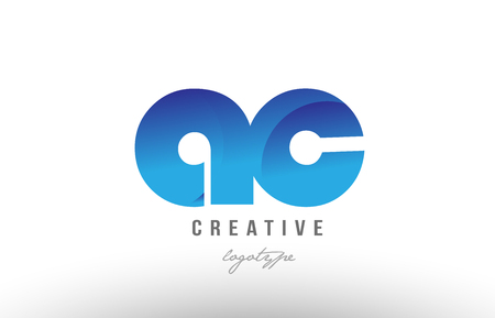 Design of alphabet letter logo combination ac a c with blue gradient color for a company or business