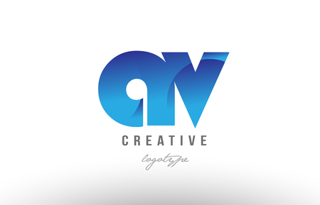 Design of alphabet letter logo combination av a v with blue gradient color for a company or business Illustration