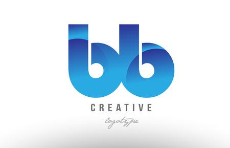 회사 또는 비즈니스에 대 한 블루 그라데이션 색 알파벳 문자 로고 조합 bb bb의 디자인