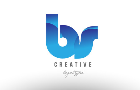 Design of alphabet letter logo combination bs b s with blue gradient color for a company or business