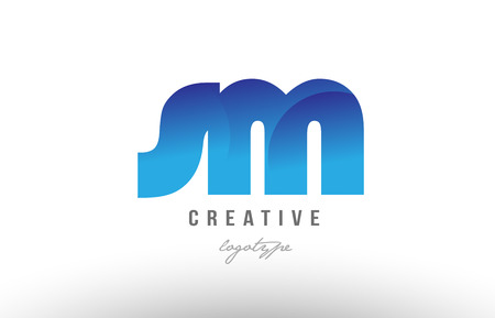 Design of alphabet letter logo combination sm s m with blue gradient color for a company or business