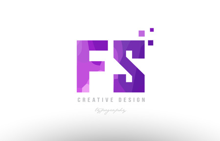 Design of alphabet letter icon fs with pink color and squares suitable as an icon for a company or business. Ilustração
