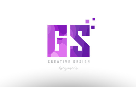 Design of alphabet letter icon gs with pink color and squares suitable as an icon for a company or business.