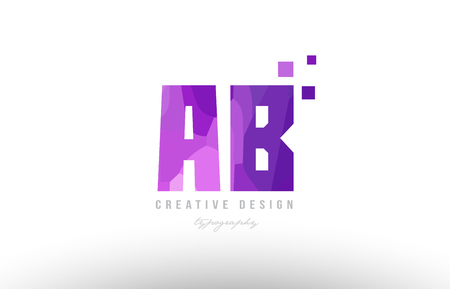 Design of alphabet letter logo ab a b with pink color and squares suitable as an icon for a company or business