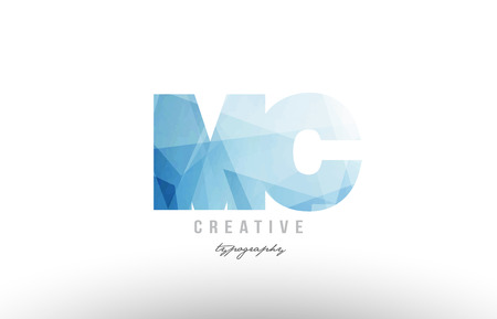 Design of alphabet letter logo MC combination with blue color and polygonal pattern suitable as an icon for a company or business