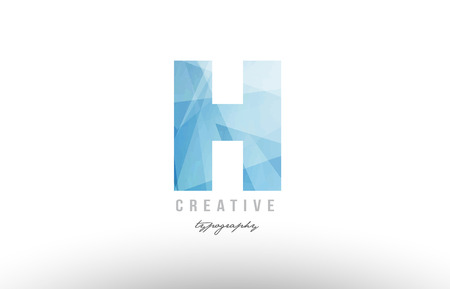 H blue polygonal alphabet letter logo icon design suitable as an symbol for a company or business