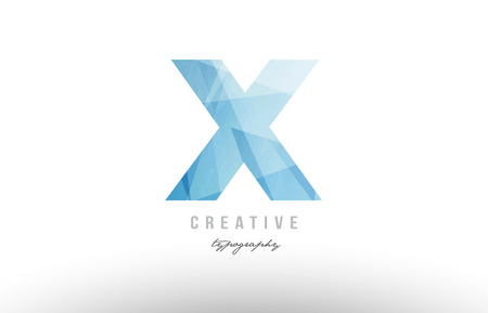 X blue polygonal alphabet letter logo icon design suitable as an symbol for a company or business