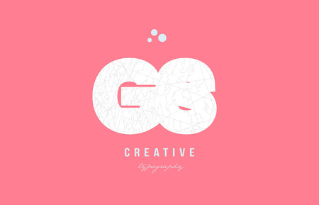 Design of alphabet letter logo gs g s combination with pink color and intricate pattern suitable as an icon for a company or business Illusztráció