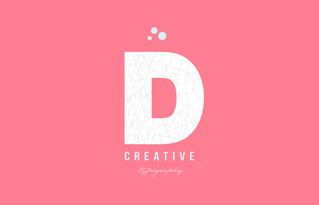 D pink white alphabet letter logo icon design suitable as an symbol for a company or business Ilustracja
